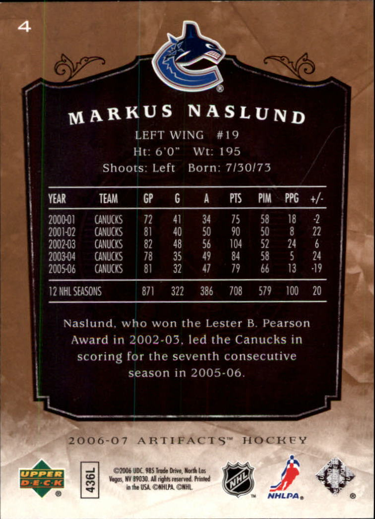 2006-07 Artifacts #4 Markus Naslund back image