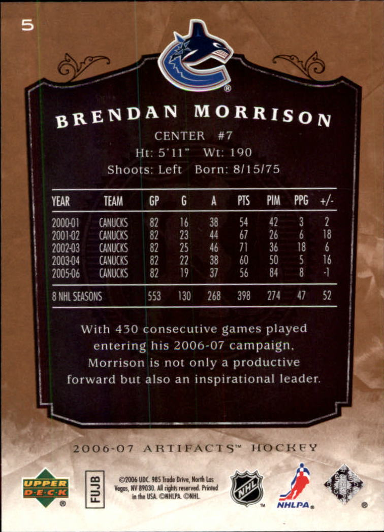 2006-07 Artifacts #5 Brendan Morrison back image