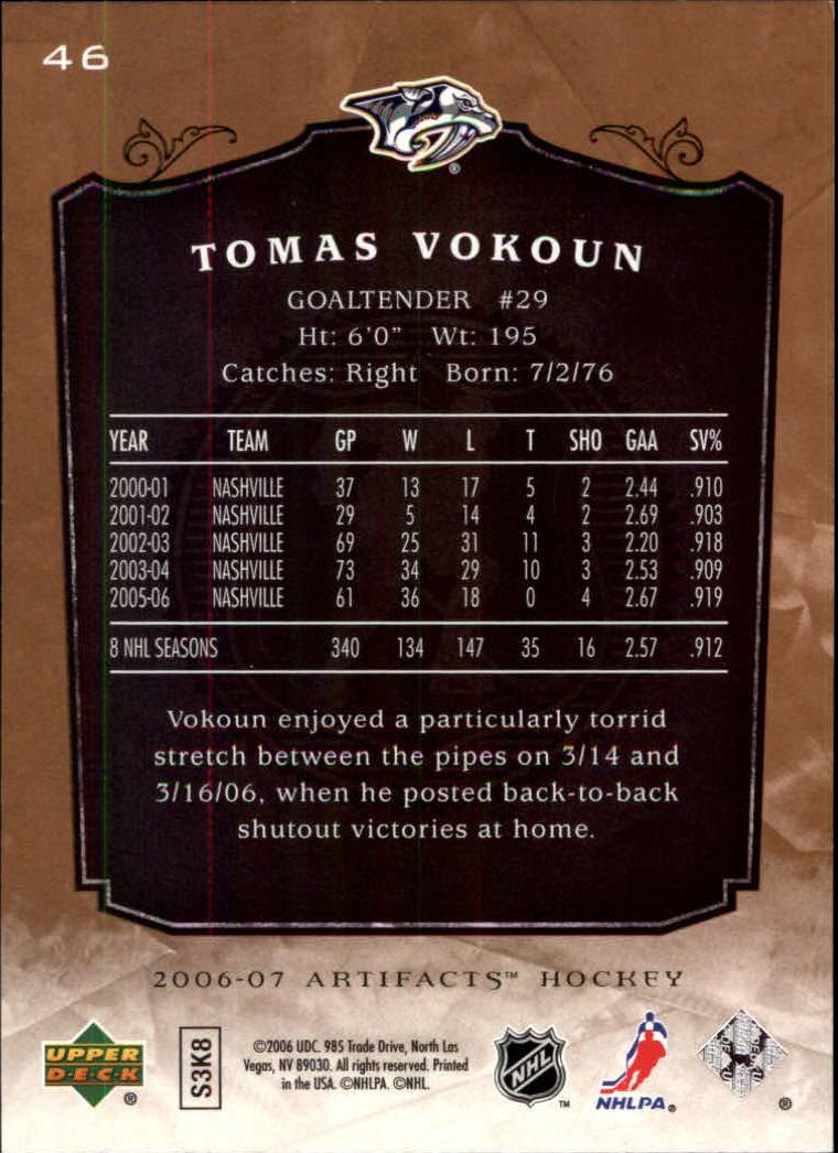 2006-07 Artifacts #46 Tomas Vokoun back image