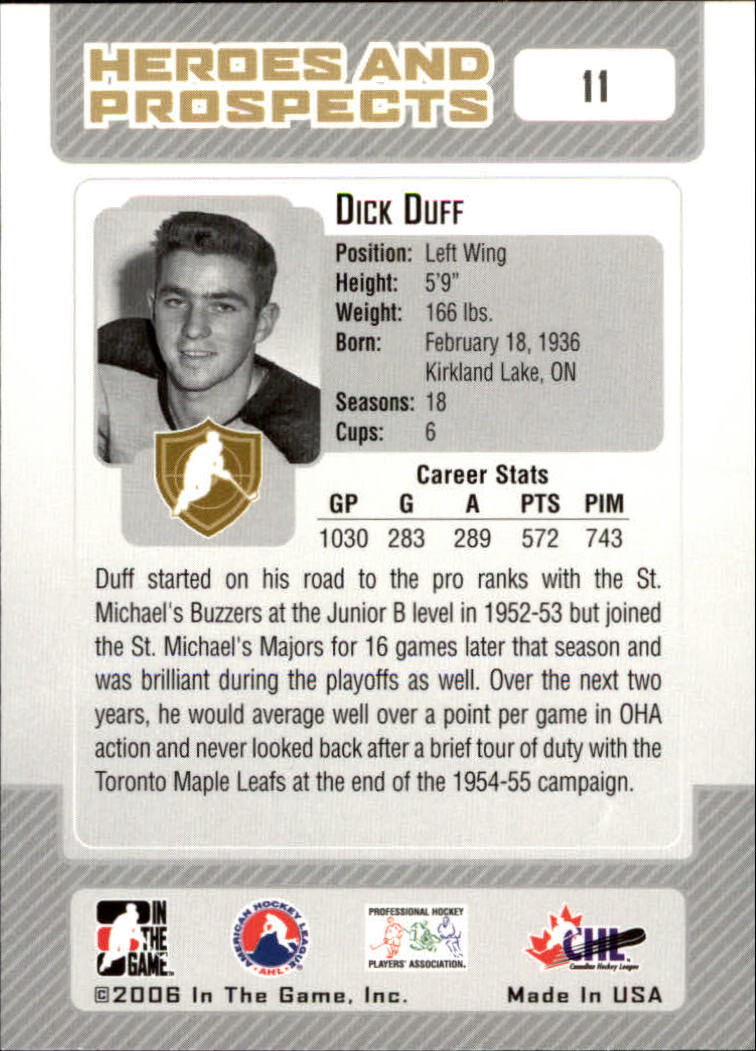 2006-07 ITG Heroes and Prospects #11 Dick Duff back image