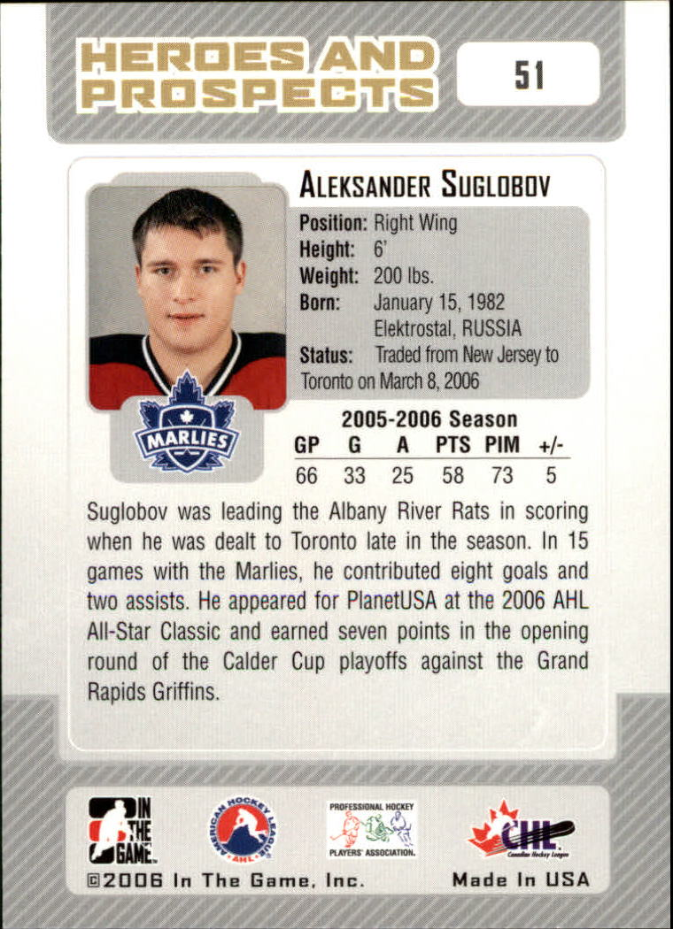 2006-07 ITG Heroes and Prospects #51 Aleksander Suglobov back image