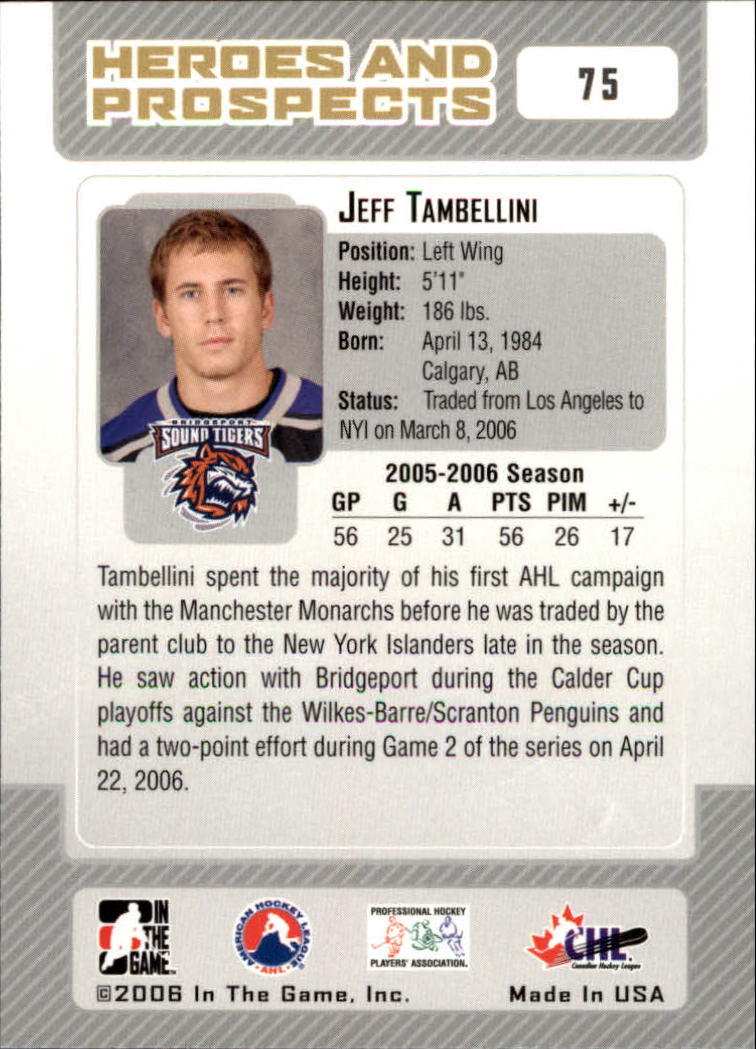 2006-07 ITG Heroes and Prospects #75 Jeff Tambellini back image