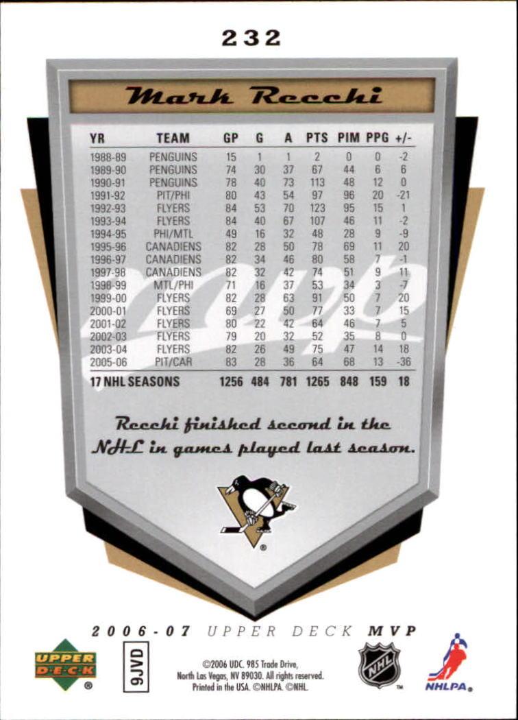 2006-07 Upper Deck MVP #232 Mark Recchi back image