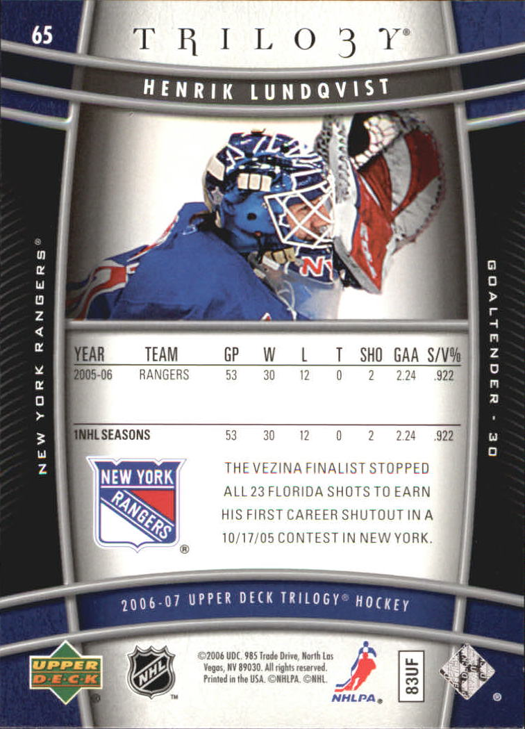 2006-07 Upper Deck Trilogy #65 Henrik Lundqvist back image