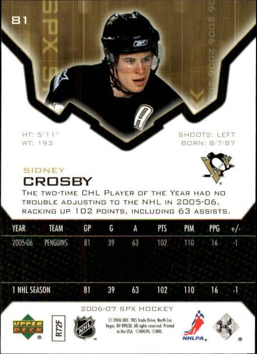 2006-07 SPx #81 Sidney Crosby back image