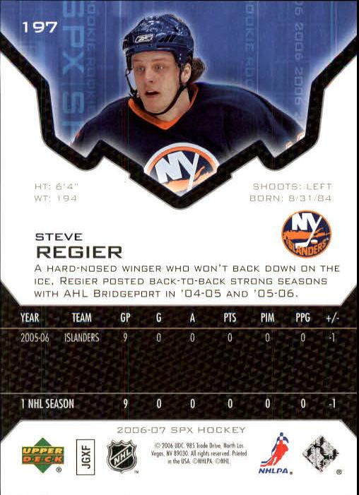 2006-07 SPx #197 Steve Regier RC back image
