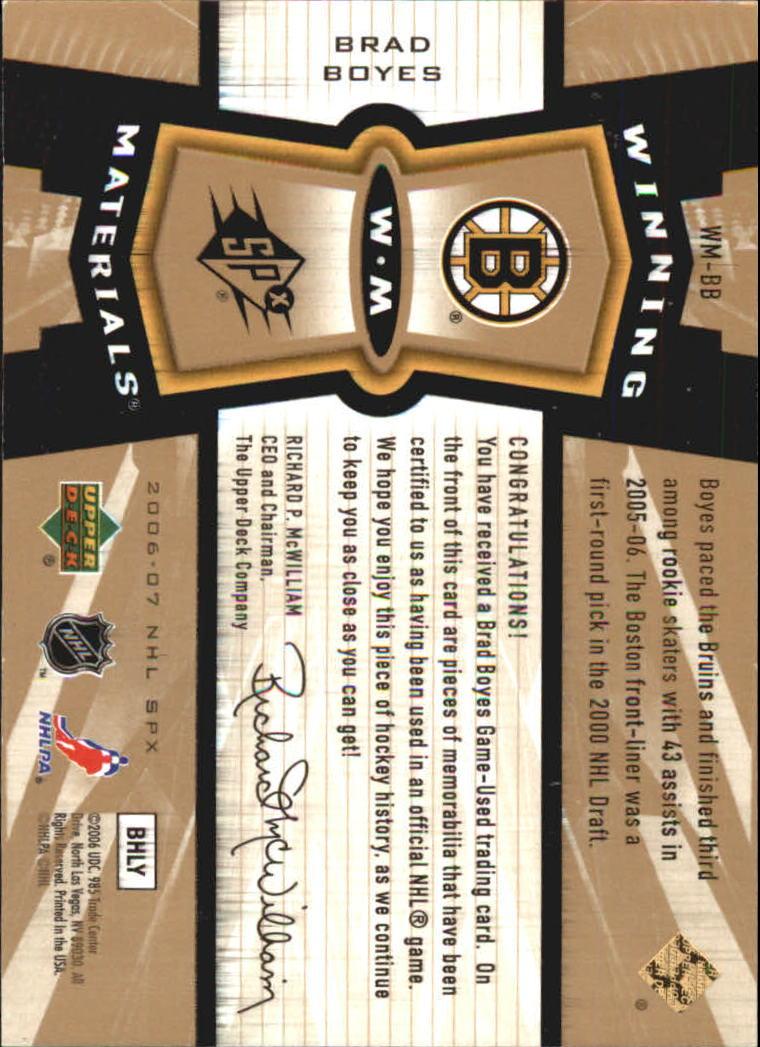 2006-07 SPx Winning Materials #WMBB Brad Boyes back image