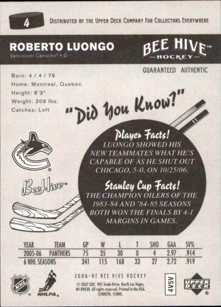 2006-07 Beehive #4 Roberto Luongo back image