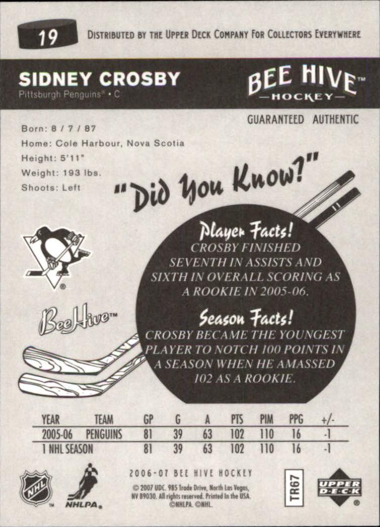 2006-07 Beehive #19 Sidney Crosby back image