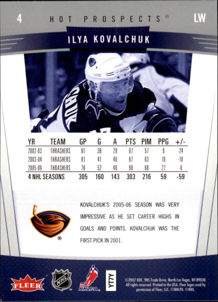 2006-07 Hot Prospects #4 Ilya Kovalchuk back image