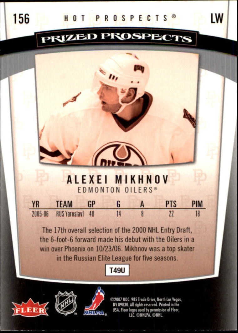 2006-07 Hot Prospects #156 Alexei Mikhnov RC back image