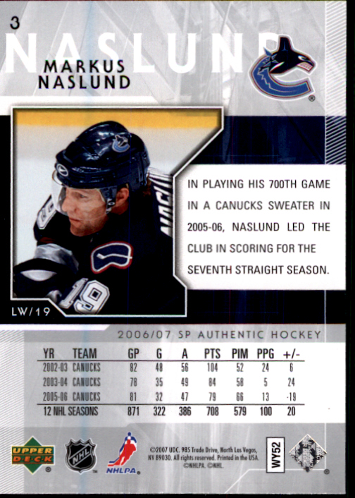 2006-07 SP Authentic #3 Markus Naslund back image