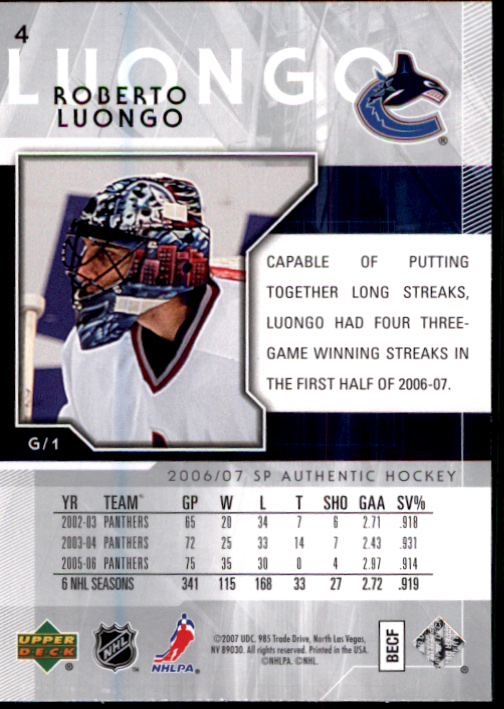 2006-07 SP Authentic #4 Roberto Luongo back image
