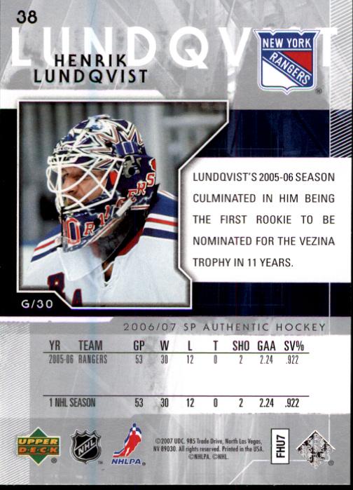 2006-07 SP Authentic #38 Henrik Lundqvist back image