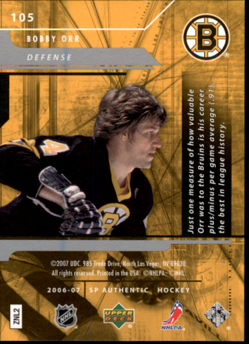 2006-07 SP Authentic #105 Bobby Orr N back image