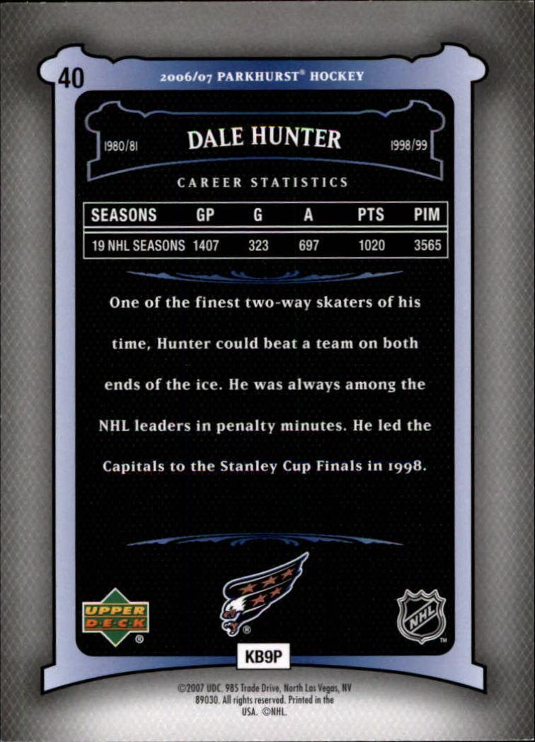2006-07 Parkhurst #40 Dale Hunter back image