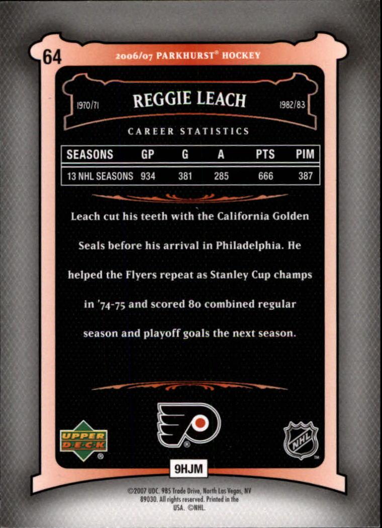 2006-07 Parkhurst #64 Reggie Leach back image
