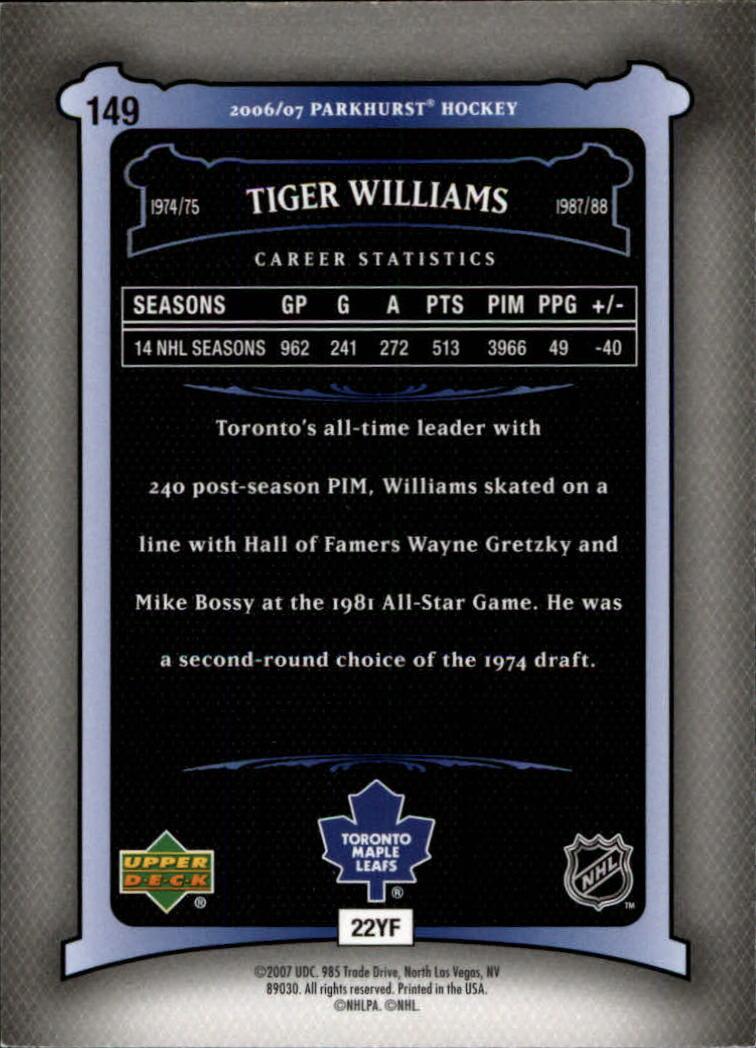 2006-07 Parkhurst #149 Tiger Williams back image