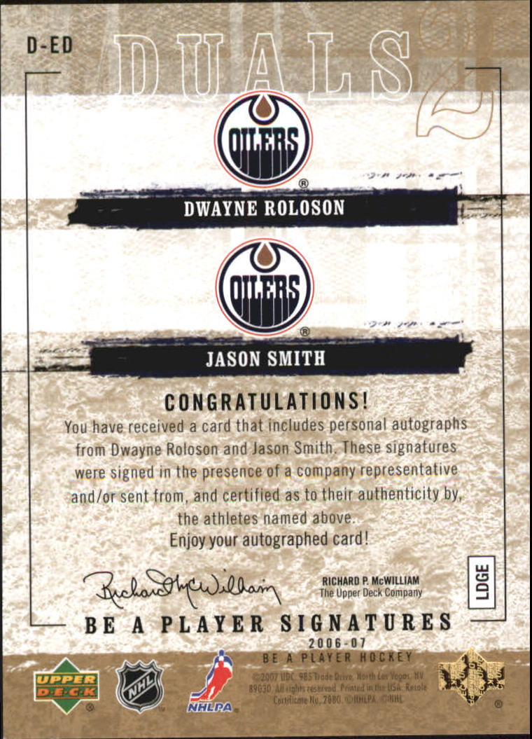 2006-07 Be A Player Signatures Duals #DED Jason Smith/Dwayne Roloson back image