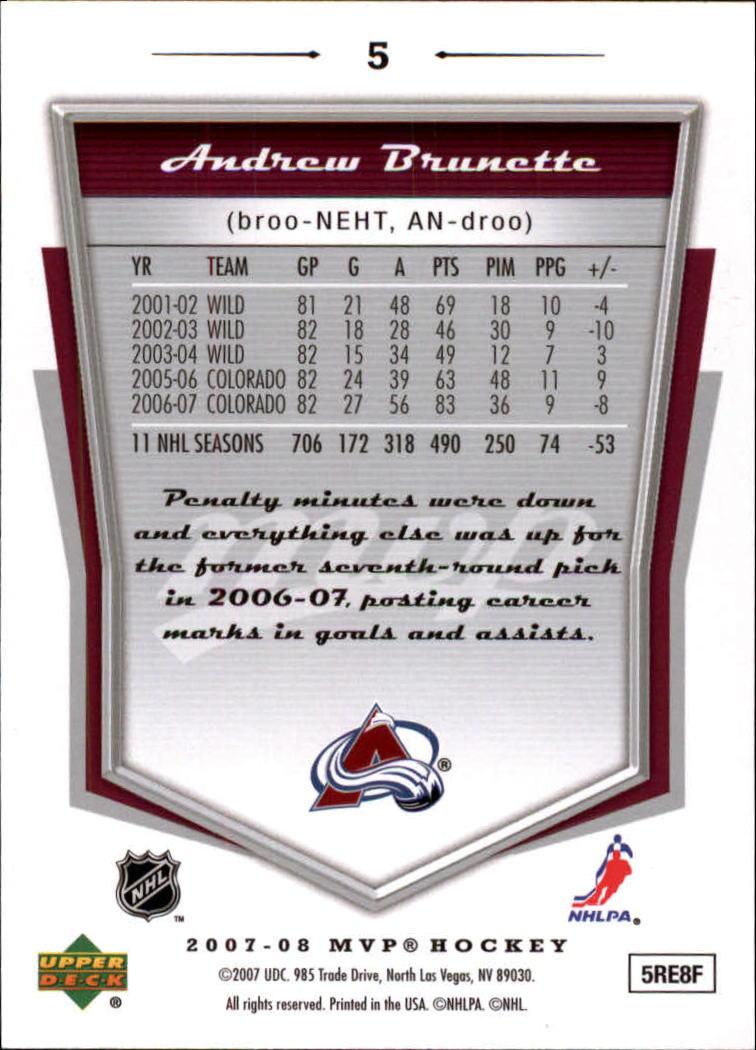 2007-08 Upper Deck MVP #5 Andrew Brunette back image