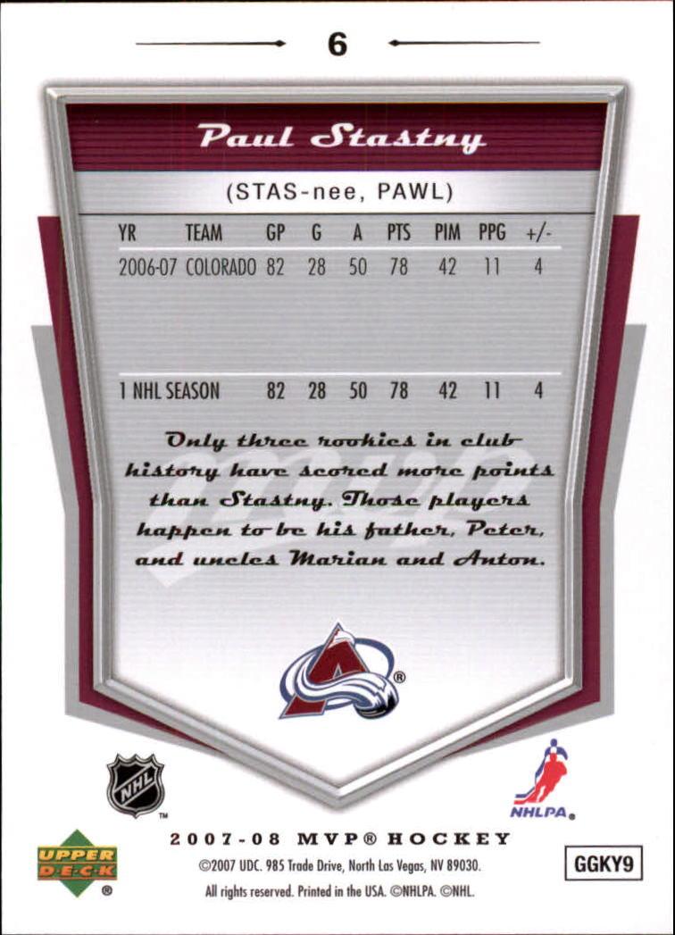 2007-08 Upper Deck MVP #6 Paul Stastny back image