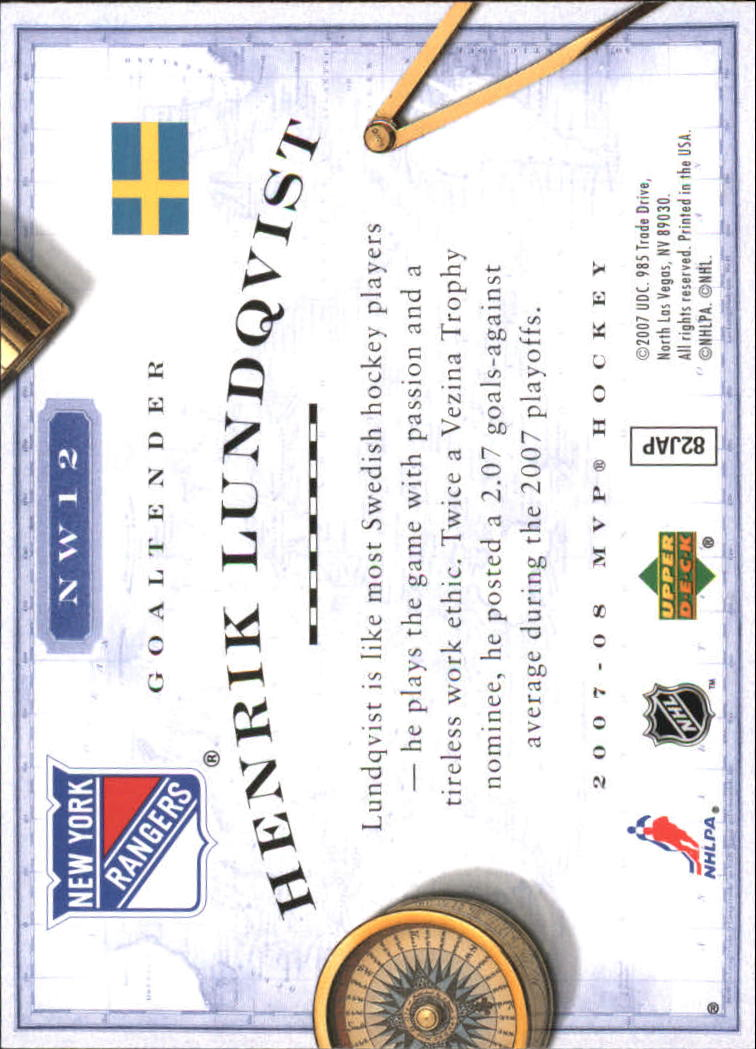 2007-08 Upper Deck MVP New World Order #NW12 Henrik Lundqvist back image
