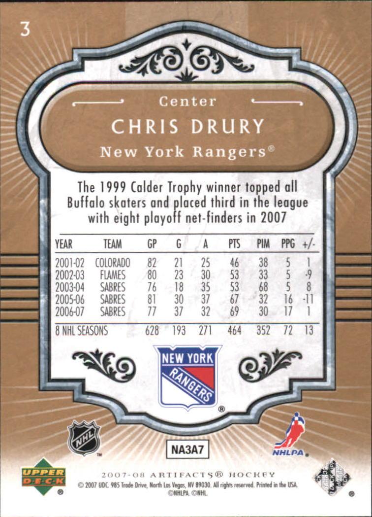 2007-08 Artifacts #3 Chris Drury back image