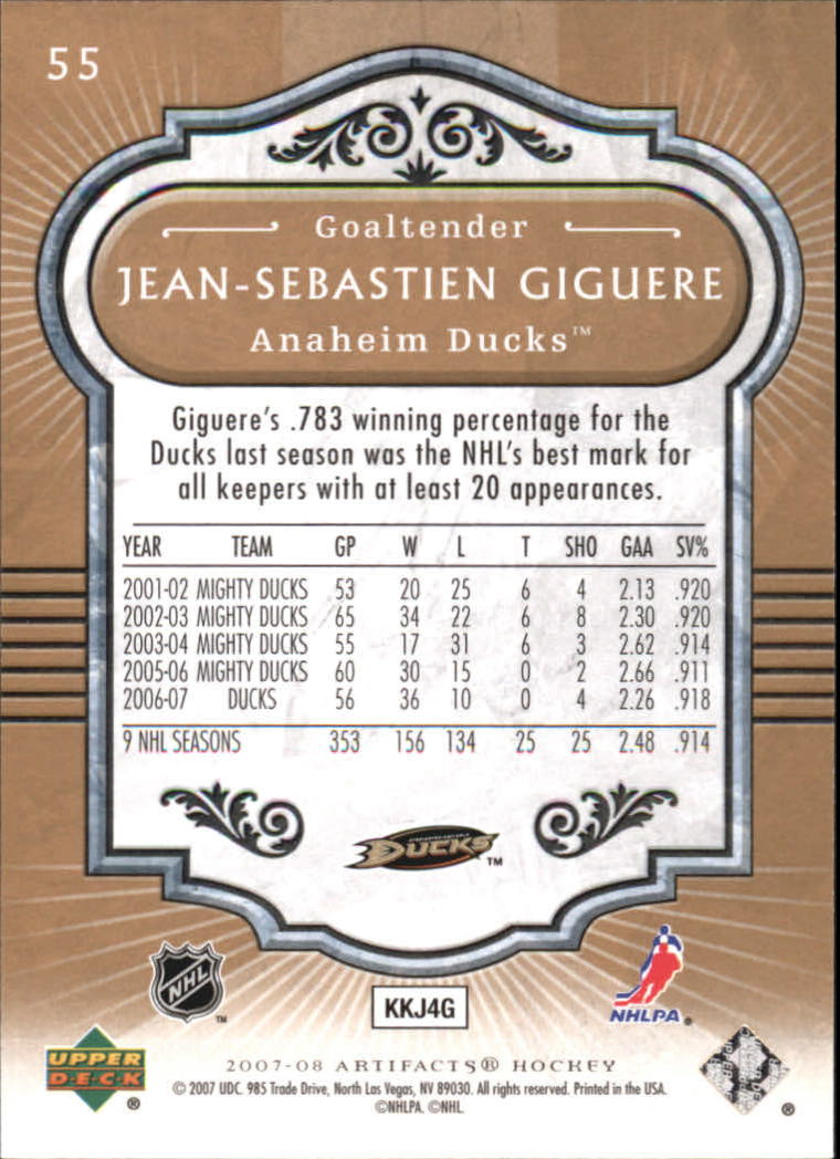 2007-08 Artifacts #55 Jean-Sebastien Giguere back image