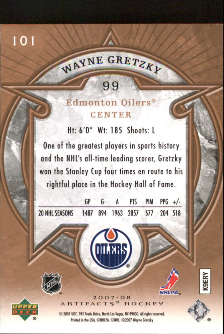 2007-08 Artifacts #101 Wayne Gretzky L back image