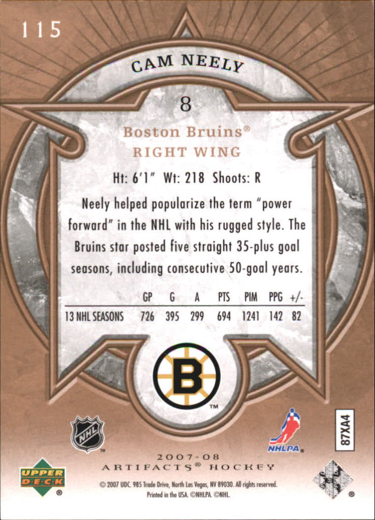 2007-08 Artifacts #115 Cam Neely L back image
