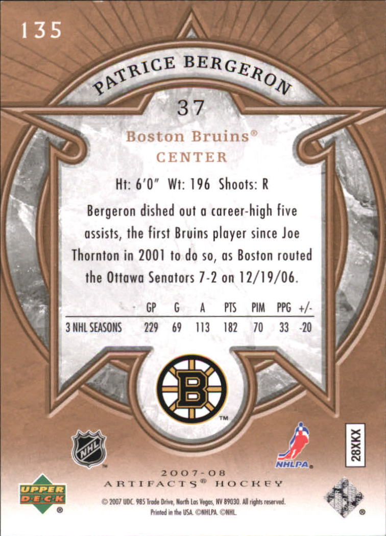 2007-08 Artifacts #135 Patrice Bergeron S back image