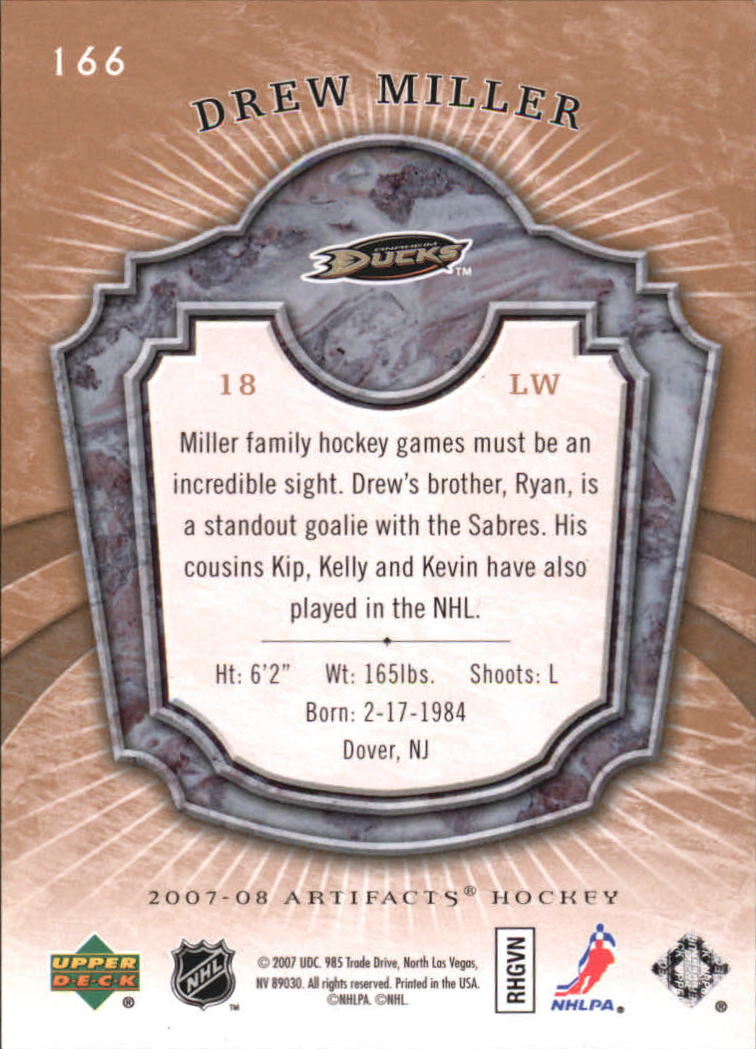 2007-08 Artifacts #166 Drew Miller RC back image