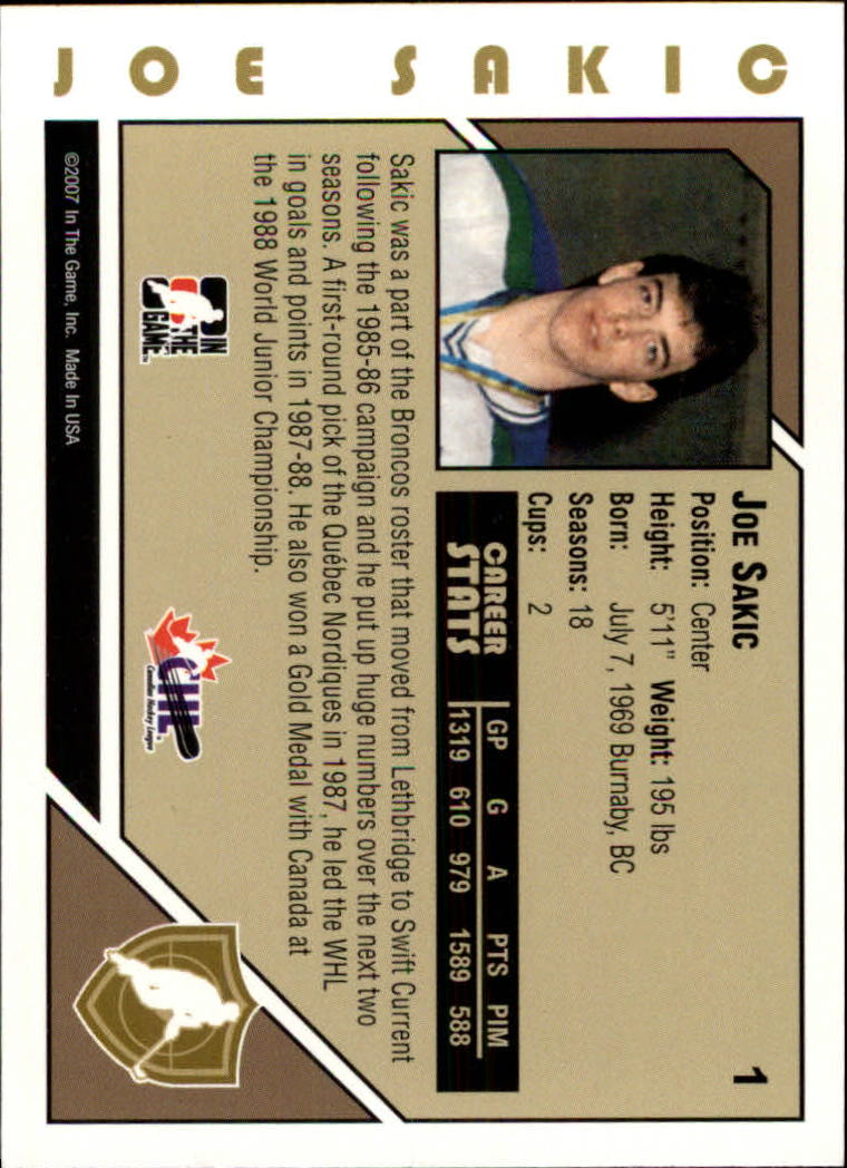 2007-08 ITG Heroes and Prospects #1 Joe Sakic back image
