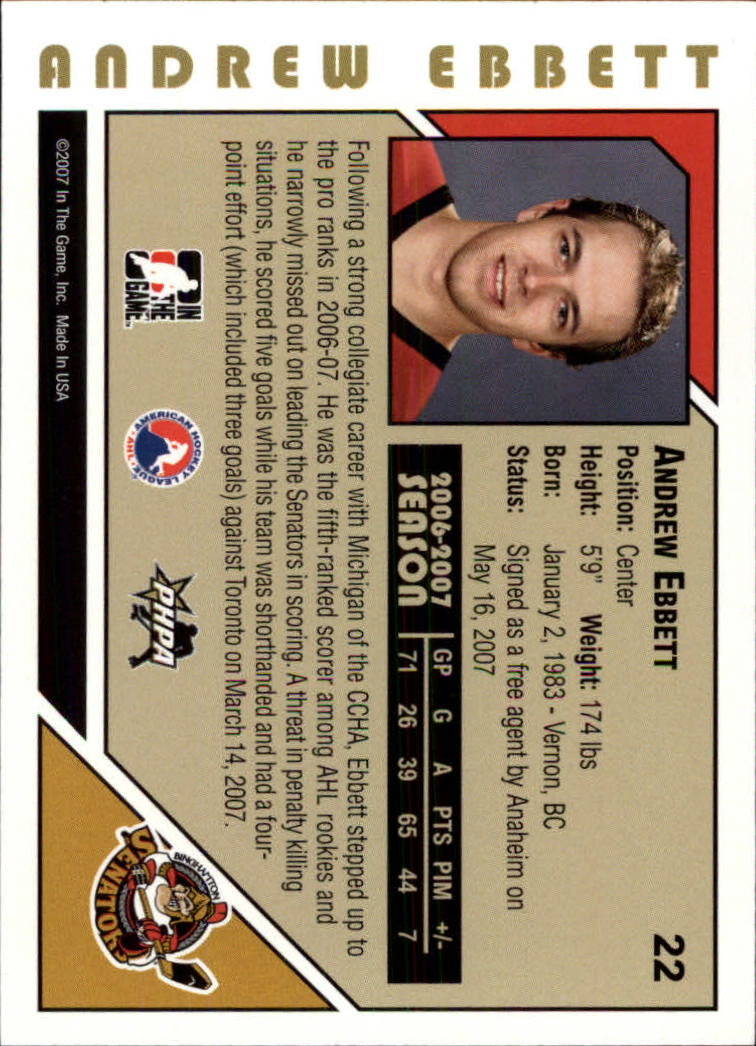 2007-08 ITG Heroes and Prospects #22 Andrew Ebbett back image