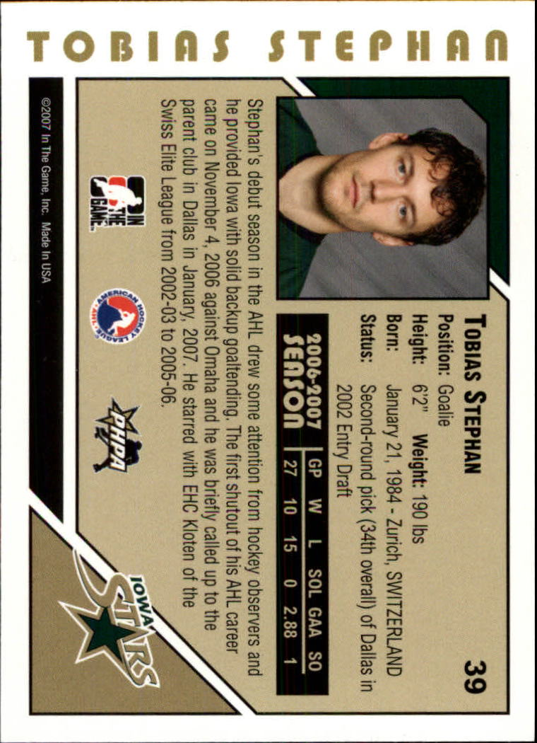 2007-08 ITG Heroes and Prospects #39 Tobias Stephan back image