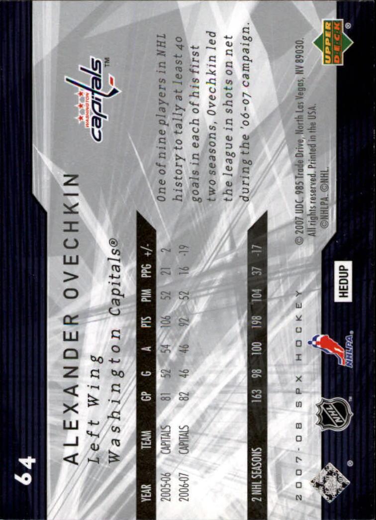 2007-08 SPx #64 Alexander Ovechkin back image