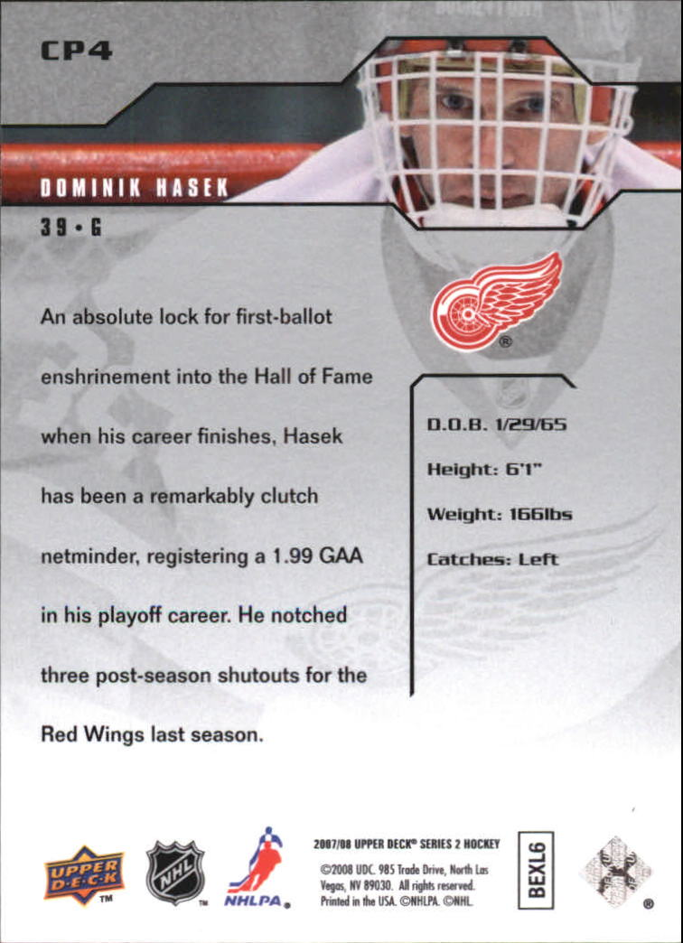 2007-08 Upper Deck Clutch Performers #CP4 Dominik Hasek back image