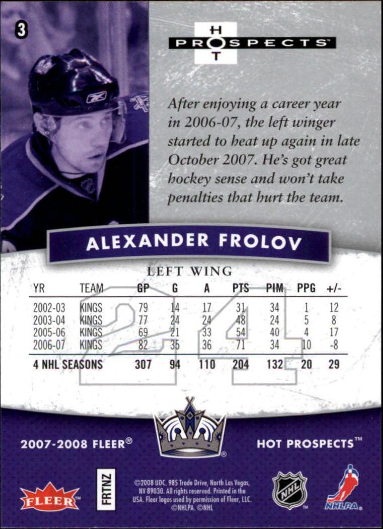 2007-08 Hot Prospects #3 Alexander Frolov back image