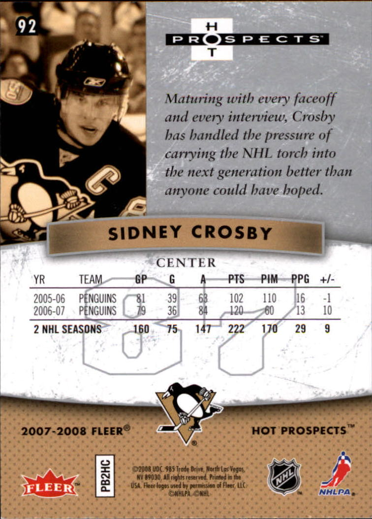 2007-08 Hot Prospects #92 Sidney Crosby back image