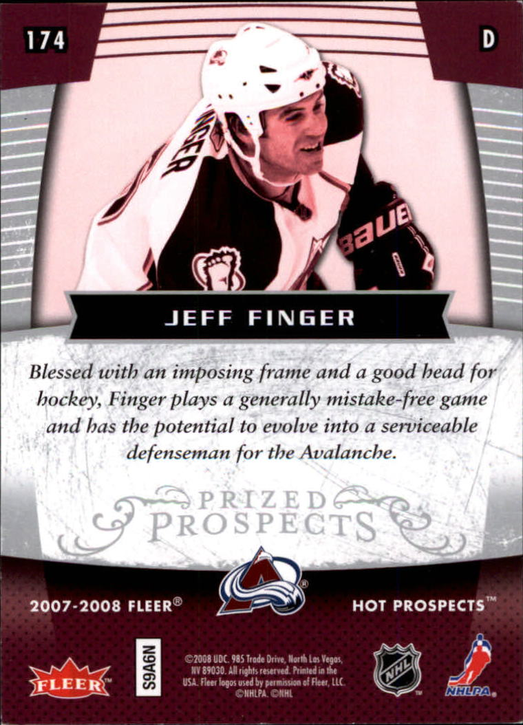 2007-08 Hot Prospects #174 Jeff Finger RC back image