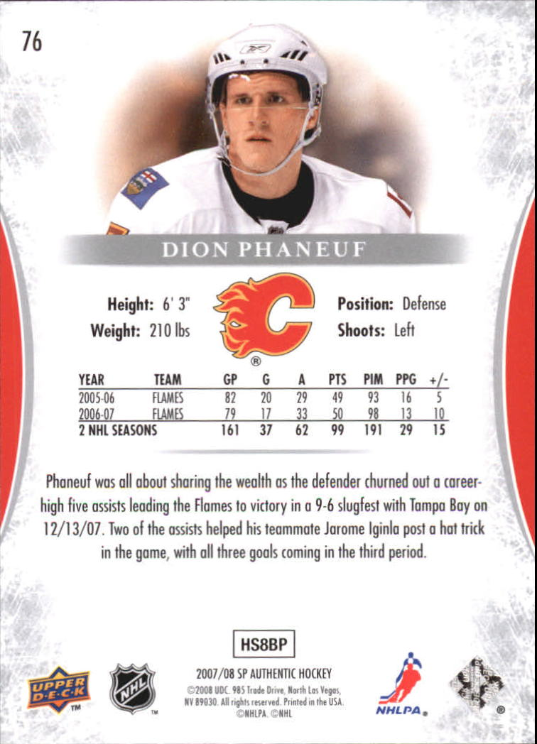 2007-08 SP Authentic #76 Dion Phaneuf back image