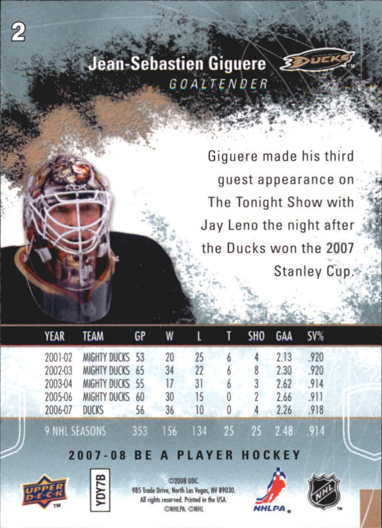 2007-08 Be A Player #2 Jean-Sebastien Giguere back image