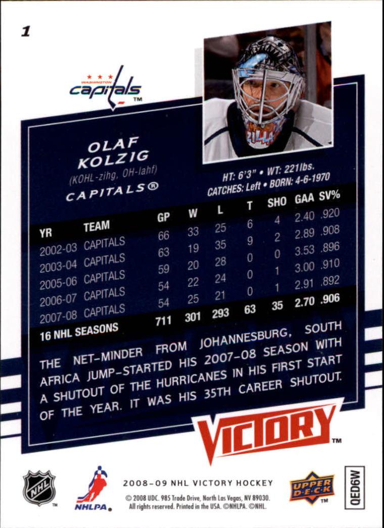 2008-09 Upper Deck Victory #1 Olaf Kolzig back image