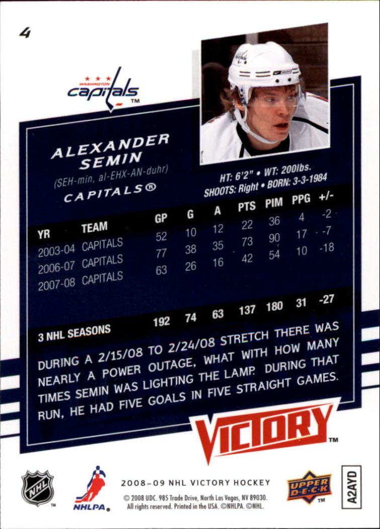 2008-09 Upper Deck Victory #4 Alexander Semin back image