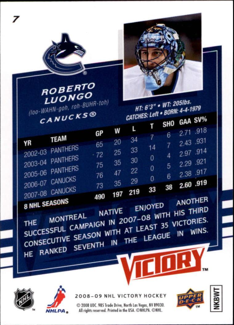 2008-09 Upper Deck Victory #7 Roberto Luongo back image