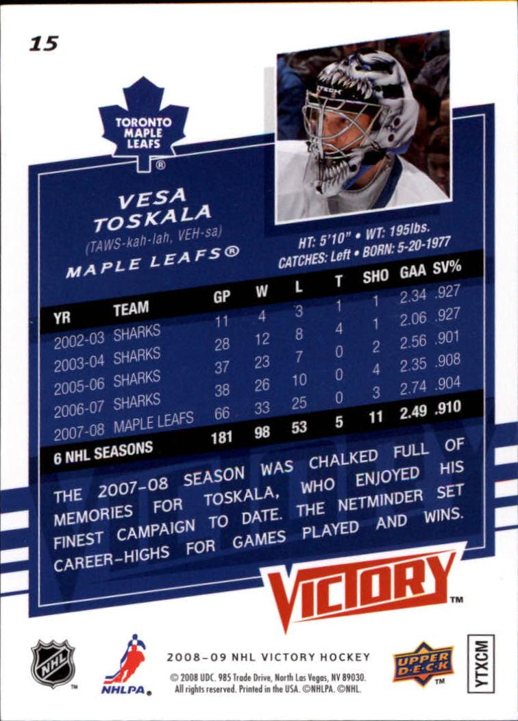 2008-09 Upper Deck Victory #15 Vesa Toskala back image