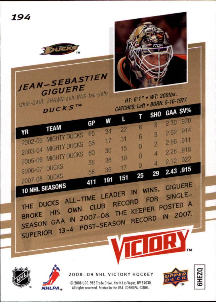 2008-09 Upper Deck Victory #194 Jean-Sebastien Giguere back image