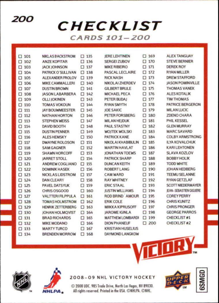 2008-09 Upper Deck Victory #200 Alexander Ovechkin CL back image