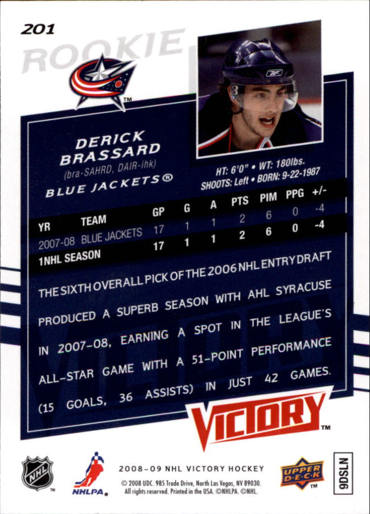 2008-09 Upper Deck Victory #201 Derick Brassard RC back image