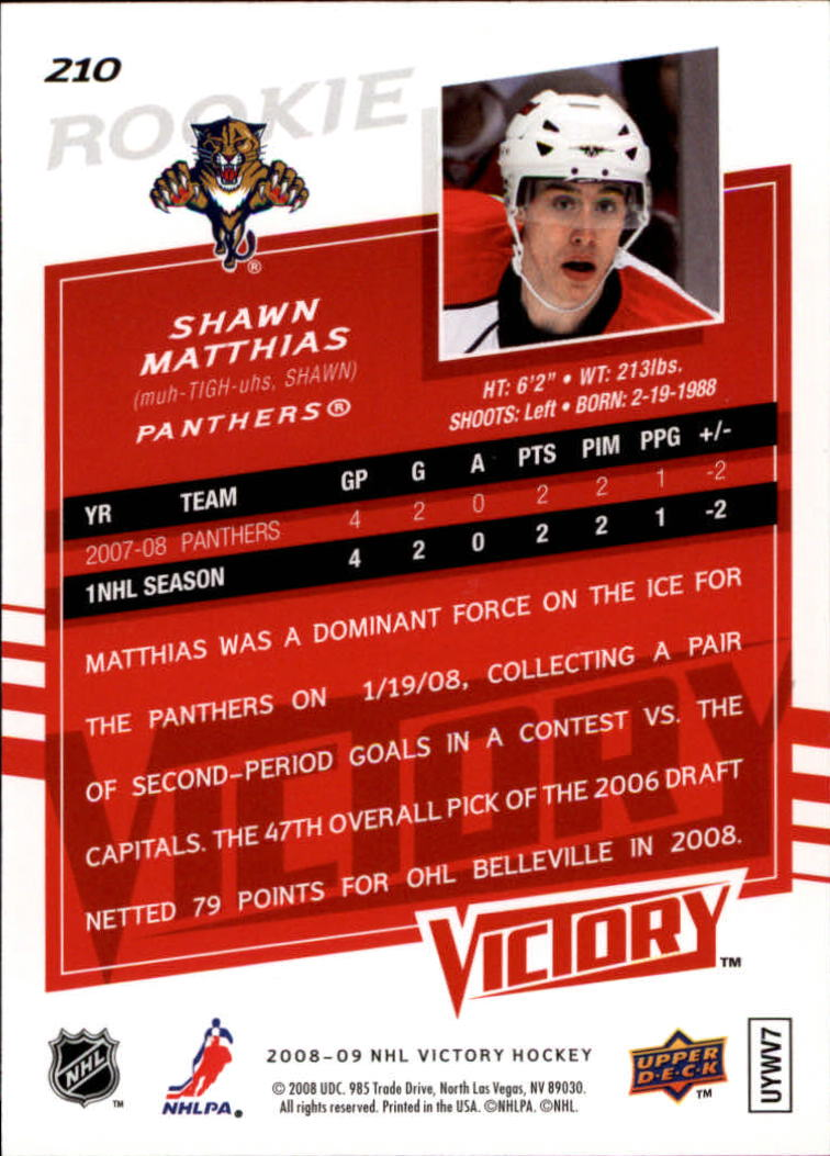 2008-09 Upper Deck Victory #210 Shawn Matthias RC back image